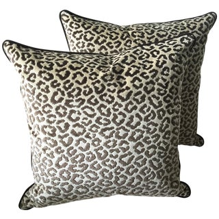 Lee Jofa High End Leopard Velvet Pillows - A Pair