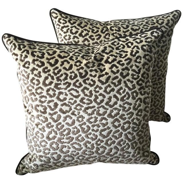 Image of Lee Jofa High End Leopard Velvet Pillows - A Pair