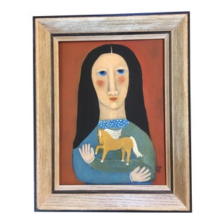 "Contemporary ""Palamino"" Folk Painting by Rose Walton"