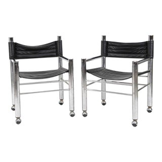 Chrome Leather Chairs - Pair