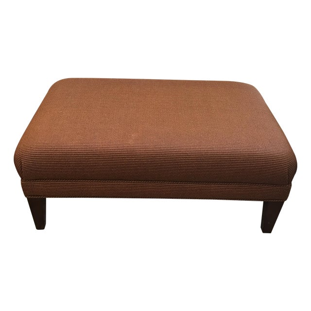Reed and Leather Upholstered Ottoman - Image 1 of 7