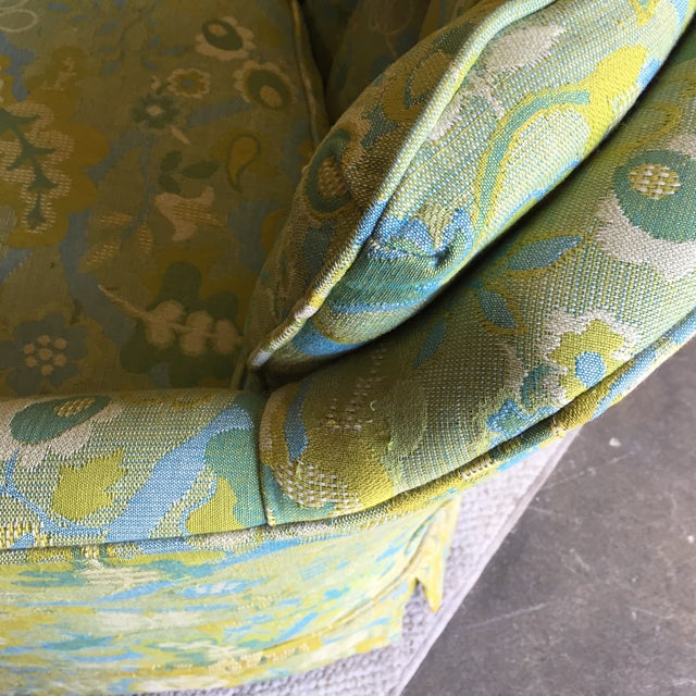 Mid-Century Blue-Green Floral Accent Chair - Image 8 of 8