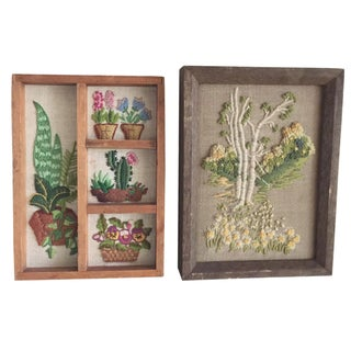 Vintage Cottage Embroidered Wall Decor - A Pair