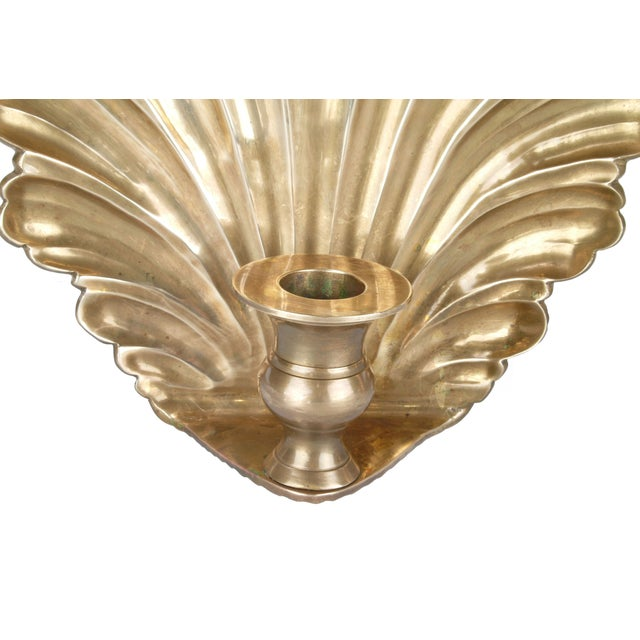 Brass Candle Wall Sconces - Pair - Image 4 of 8
