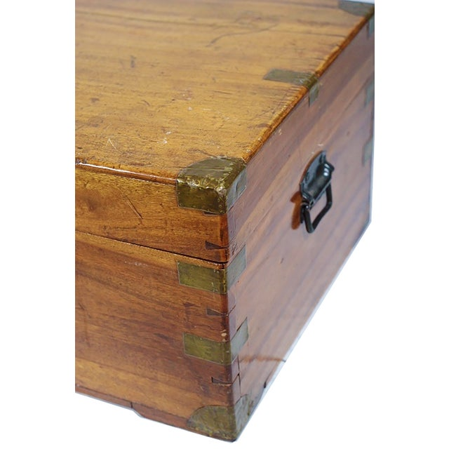 Image of Early 19th Century Walnut and Brass Trunk