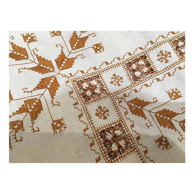 Hand-Embroidered French Linen Tablecloth - Image 2 of 4