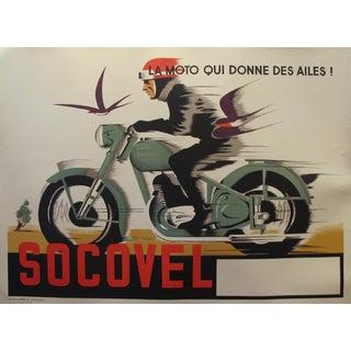 1940s Belgian Art Deco Motorcycle Poster