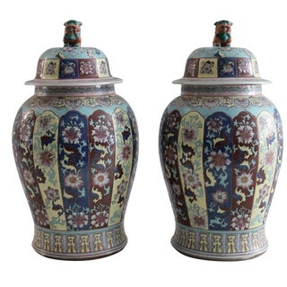 Chinoiserie Urns with Foo Dog Finials - A Pair