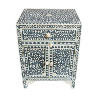 Bone Inlay Blue Side Cabinet