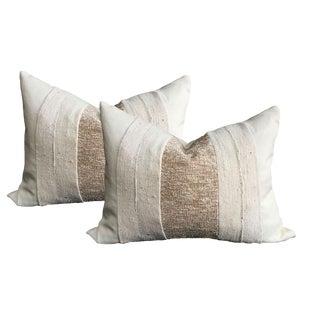 Ivory Linen & African Mud Cloth Pillows - A Pair