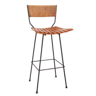 Iron, Raffia and Bentwood Bar Stool by Arthur Umanoff