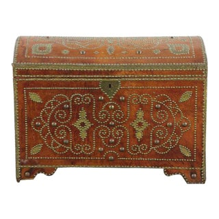 Continental Leather Bound Brass Studded Trunk