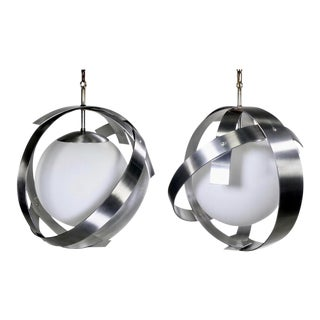 Mid-Century Brushed Aluminum and Glass Pendants Attributed to Sonneman - a Pair