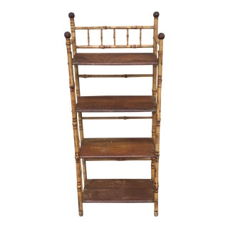 Antique English Burnt Bamboo Tortoise Shelf