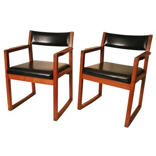 Danish Modern Black Vinyl Chairs - A Pair