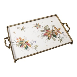 1900s Antique Floral Tile & Brass Gallery Tray