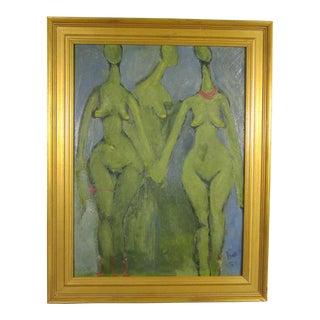 Figurative Three Nudes Painting, 1955