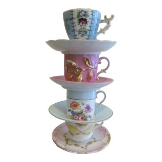 Vintage Mismatched Tea Cups & Saucers - Set of 8