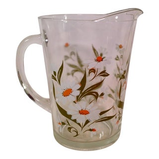 Mid-Century White Daisy Design Glass Pitcher