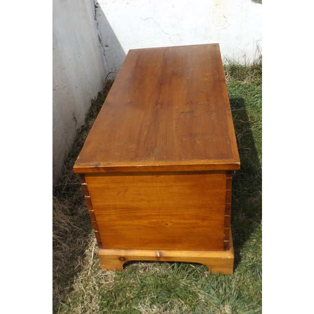 Primitive Antique Dovetailed Pine Hope Chest - Image 3 of 10