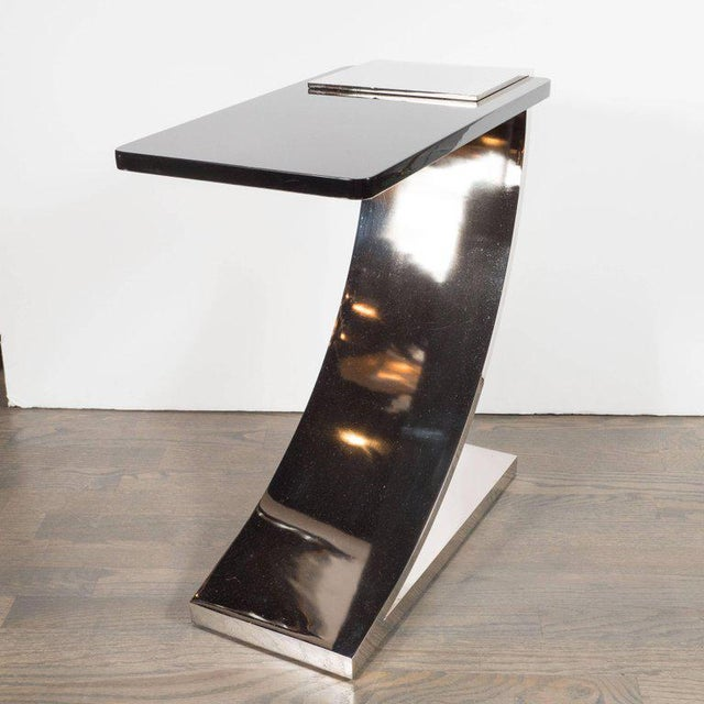 Sophisticated Modernist Polished Nickel and Black Lacquer Side or Drinks Table - Image 5 of 8