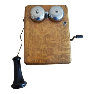 Antique Oak Kellogg Handcrank Phone