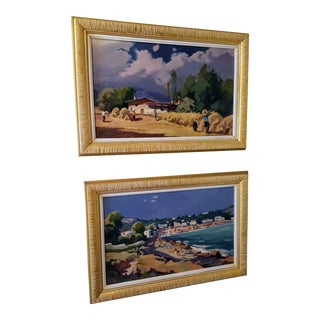 Mid-Century Farm and Seashore Contrasting Landscape Paintings - A Pair