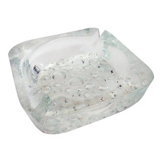 Mid-Century Art Bubble Heavy Glass Ashtray