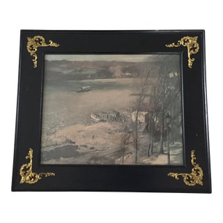Antique Gothic Black Framed Print of Harbor Scene in Muted Tones