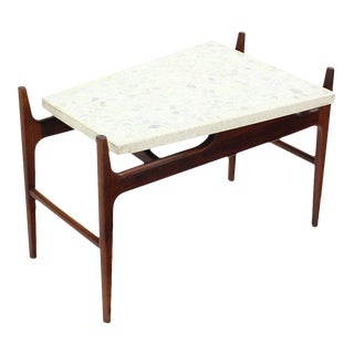 Unusual Trapezoid Travertine Terrazzo Top Walnut Base End Side Table