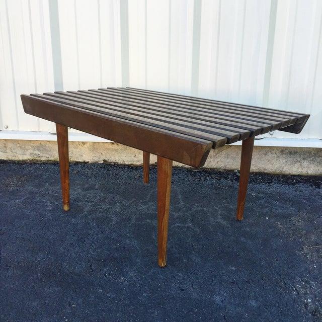 Mid Century Modern Walnut Slat Bench - Image 2 of 6