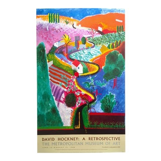 "David Hockney 1988 Lithograph Print Met Museum Exhibition Poster "" Nichols Canyon "" 1980"