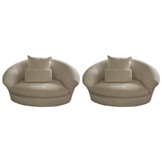 Ivory Velvet Curved Loveseats - Pair