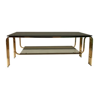 French Modern Brass and Glass Coffee Table