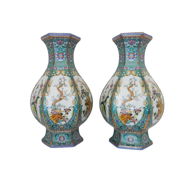 Famille Blue Floral Porcelain Vases - A Pair - Image 3 of 7