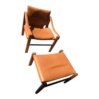 Vintage Maurice Burke for Arkana Safari Camel Colored Chair and Ottoman