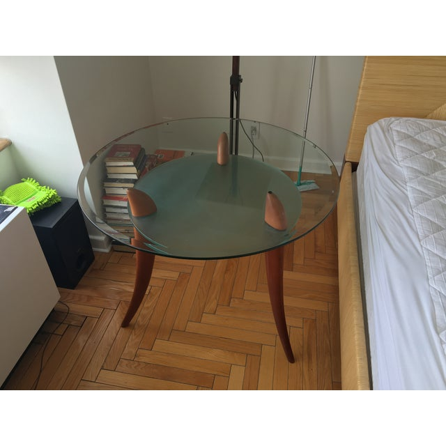 Architectural Design Wood & Glass Side Table - Image 7 of 8