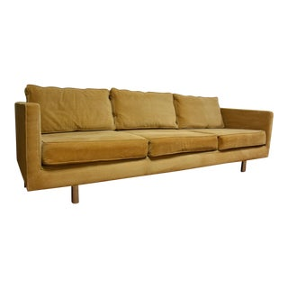 Modern Corduroy & Chrome Sofa