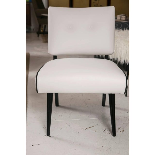 Mid-Century Modern Slipper Lounge Chair in White Vinyl - Image 3 of 9