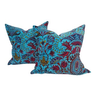 Cotton Velvet Orientalist Pillows - A Pair
