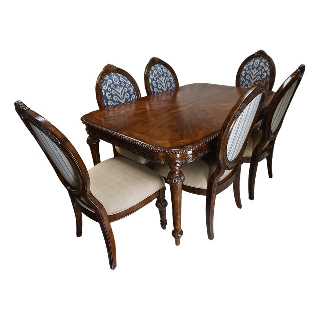 French Dining Table with 6 Ikat Oval Back Chairs - Image 11 of 11