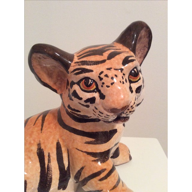 Vintage Italian Ceramic Tiger Cub Figurine - Image 3 of 7