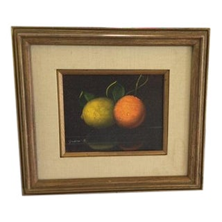 Italian Framed Fruit Still Life Oil Painting