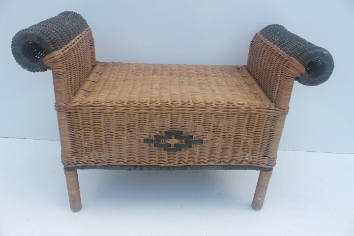 Vintage Wicker Vanity Bench Or Stool   Image 3 Of 11