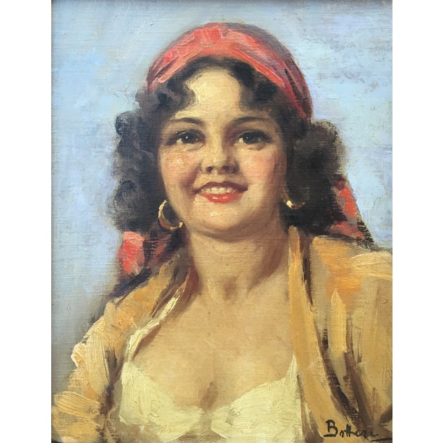 Image of Vintage Portrait Painting of an Italian Girl