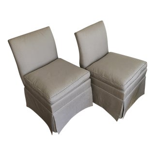 Transitional Baker Silk Slipper Chairs - A Pair
