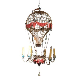 1930s Vintage Hot Air Balloon Tole Chandelier