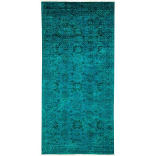 "Vibrance, Hand Knotted Contemporary Turqouise Wool Runner Rug - 4' 4"" X 10' 2"""