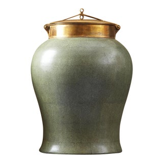 Jade Shagreen Urn with Bronze Lid
