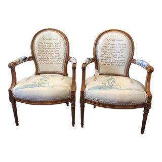 French Chrysanthemum Chairs - A Pair